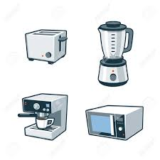 Microwave And Toaster Set Set Of Four Cartoon Vector Icons Of A Toaster Blender Coffee