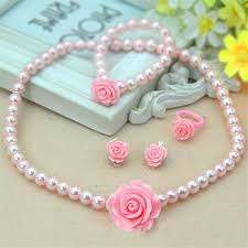 pearl flower necklace images Kids baby girls child pearl flower necklace bracelet ring ear jpg