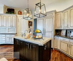 Off White Cabinets With A Dark Wood Kitchen Island MasterBrand - Dark wood kitchen cabinets