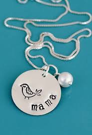 Hand Stamped Necklace Bird On A Round Disc With Birthstone Sterling Silver Hand