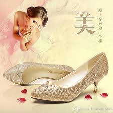 Wedding Shoes Small Heel In The Low Heel Shoes Diamond Documentary Shoes Golden Wedding