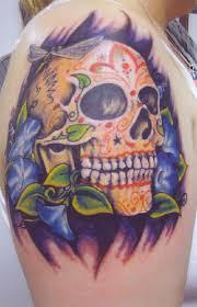 sugar skull tattoo design ideas on upper arm tattoo design ideas