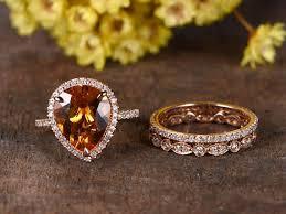 natural wedding rings images Vs natural citrine ring set 14k rose gold engagement ring diamond jpg