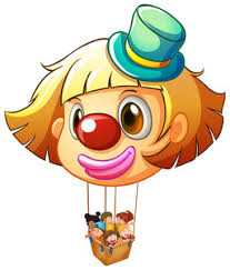 clown balloon illustration of a clown balloon carrying kids on a white
