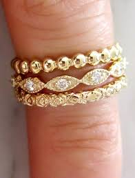 stackable engagement rings set of 3 unique stacking rings in yellow gold walden bridal