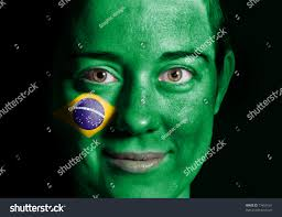 The Flag Of Brazil Beauty Woman Flag Brazil Painted On Stock Photo 77459161