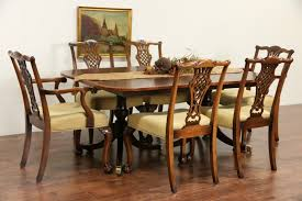 sold banded mahogany vintage double pedestal dining table no