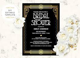 great gatsby wedding invitations bridal shower invitation template diy great gatsby bridal