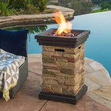 Firepit Rocks Outdoor Column Propane Pit With Lava Rocks Pool Patio