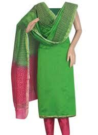 buy parrot green and pink combination chanderi silk salwar suit