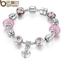 charm bracelet murano glass images Bamoer silver charm bracelet with heart pendant cherry blossom jpg