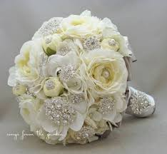 silk flower bouquets brooches blooms bridal bouquet silk flower wedding white grey