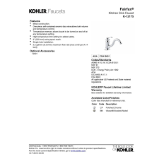 kohler faucet k 12175 cp fairfax polished chrome one handle