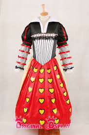 alice in wonderland cosplay red queen of hearts dress lady costume