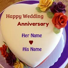 wedding wishes editing happy wedding anniversary cake with your name