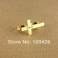 customized engraved rings personalized cross with lettering