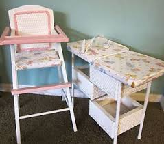 Dolls Changing Table Antique 30s Vtg Doll Baby High Chair Feeding Table White