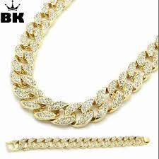 cuban link bracelet gold images Buy miami cuban link chain set gold color fully jpg