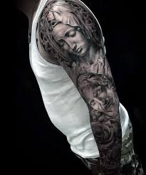 christian sleeve tattoo designs for men christian tattoo design
