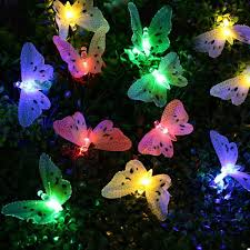 solar string lights cheap 12 led multi color butterfly solar string lights fiber optic