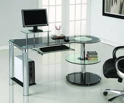 amazon com black glass u0026 chrome modern desk with circular shelves