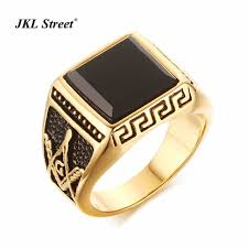 aliexpress buy mens rings black precious stones real jkl stainless steel free masonic semi precious black