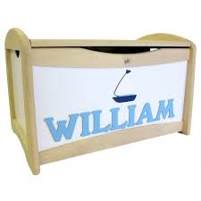 personalised handmade wooden toy box boat design