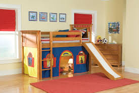 loft bunk bed with slide and tent for kids decofurnish