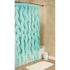 Ruffled Shower Curtains Cascade Ruffled Voile Shower Curtain