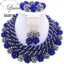 silver and royal blue wedding online get cheap big necklace royal blue crystal aliexpress com