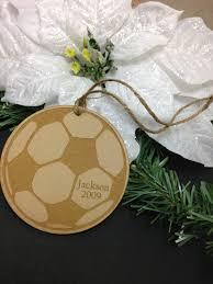 soccer ball wood ornament laser engraved christmas ornament