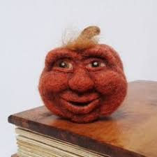 mini needle felted orange wool o lantern pumpkin fall felt