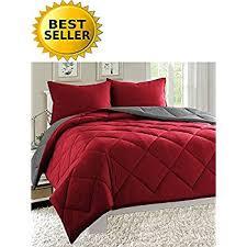 Red And Grey Comforter Amazon Com Elegant Comfort Goose Down Alternative Reversible 3