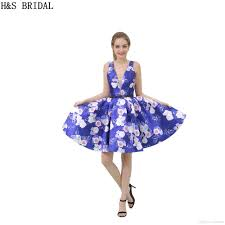 blue floral print girls 2017 homecoming dresses real model photos