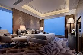 Bedroom Furniture Modern Design Black Gloss Wall Panel With Large Platform Size Bedding And Modern
