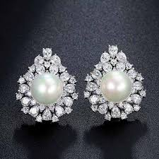 ear ring image pearl earring cubic zirconia stud luvit quality products