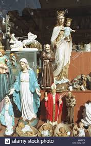 religious ornaments models in shop window vatican rome italy stock