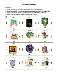 match equivalent fractions decimals and percents puzzle after