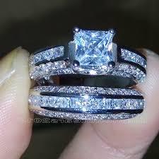 princess cut cubic zirconia wedding sets wedding rings princess cut white gold cubic zirconia engagement