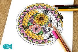 free honey bee hive mandala coloring page