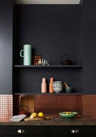 black kitchen backsplash black and copper domestic black kitchens and
