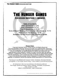 the hunger games discussion questions u0026 answers