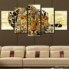 Wall Paintings For Home Decoration 2017 5 Panel Leopard Painting Canvas Print Painting Home