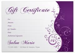 salon gift cards modern salon gift certificate for spa hair stylist