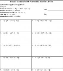 5th grade algebraic expressions worksheets parentheses brackets and braces in math expressions
