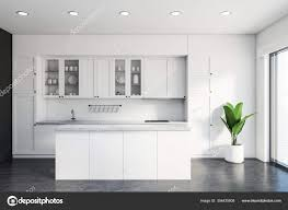 white kitchen cupboards and grey walls interior of classic kitchen with white and grey walls concrete floor white countertops and cupboards and comfortable white island 3d rendering