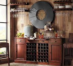 Distressed Wood Bar Cabinet Modular Bar Buffet With 2 Wine Grid Bases 2 Cabinets Pottery Barn