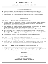event planner resume event resume sles pertamini co