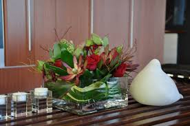 Square Glass Vase Blooms Flower And Green Leaves In Square Glass Vase Combined With
