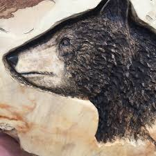 bear wood carving wood sculpture hand carved wood art log home